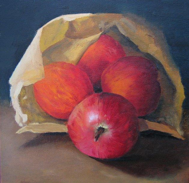 Apples in a Bag. Original art by Steve Strode