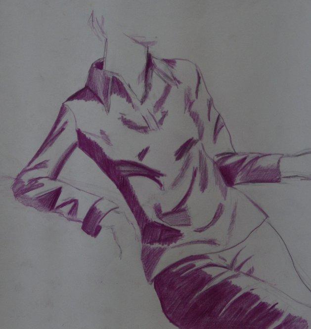 Purple Lady Sketch. Original art by Kelly Litherland