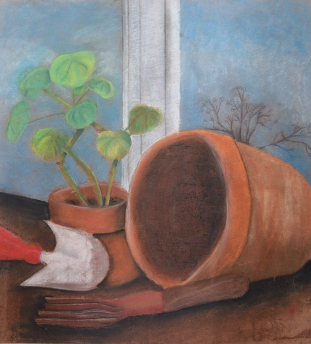 Planting scene in pastel. Original art by Kelly Litherland