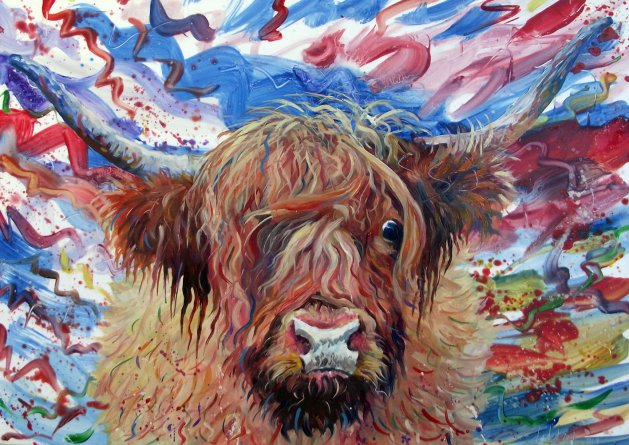 Hamish the Highland Coo. Original art by George Dow