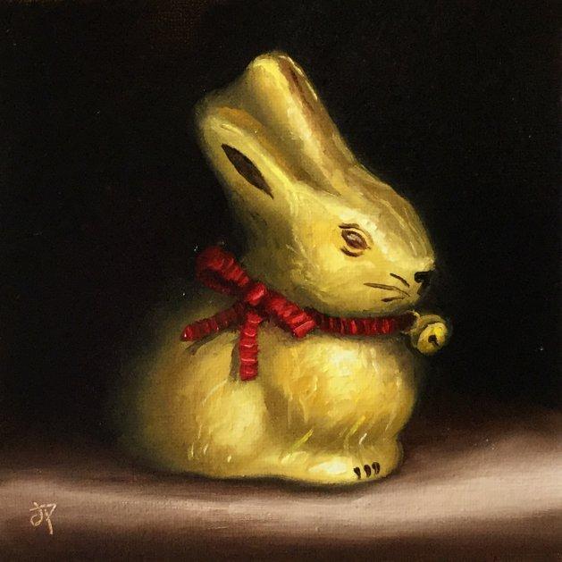 Gold bunny. Original art by Jane Palmer