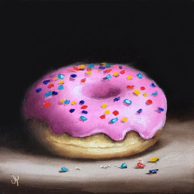 Pink sprinkles donut. Original art by Jane Palmer