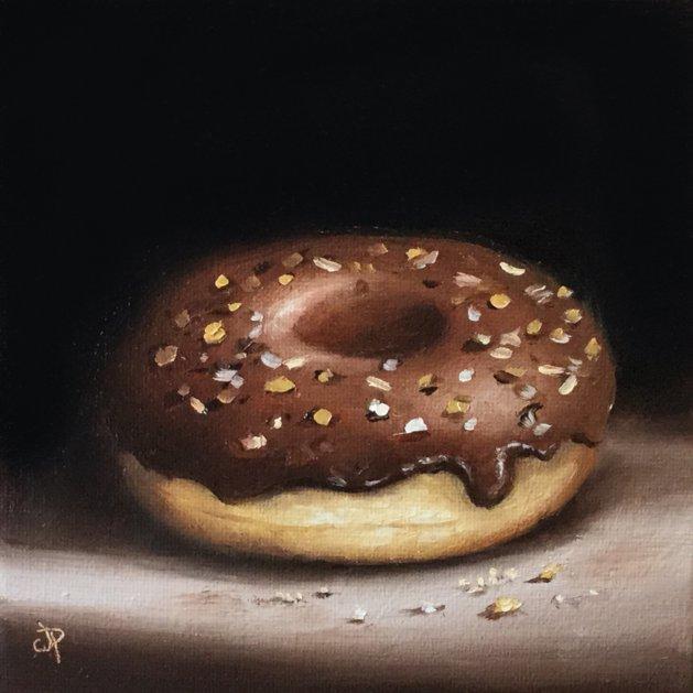 Chocolate sprinkles donut. Original art by Jane Palmer