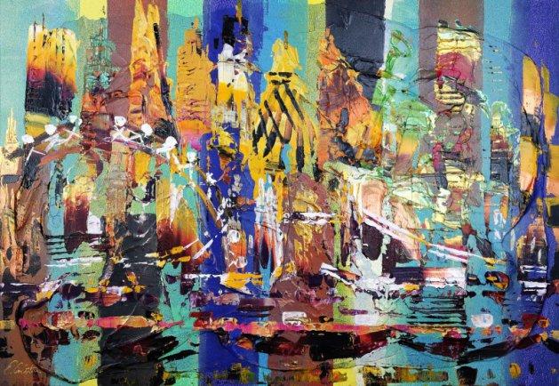 London City Abstact Expresstion 379. Original art by Eraclis Aristidou