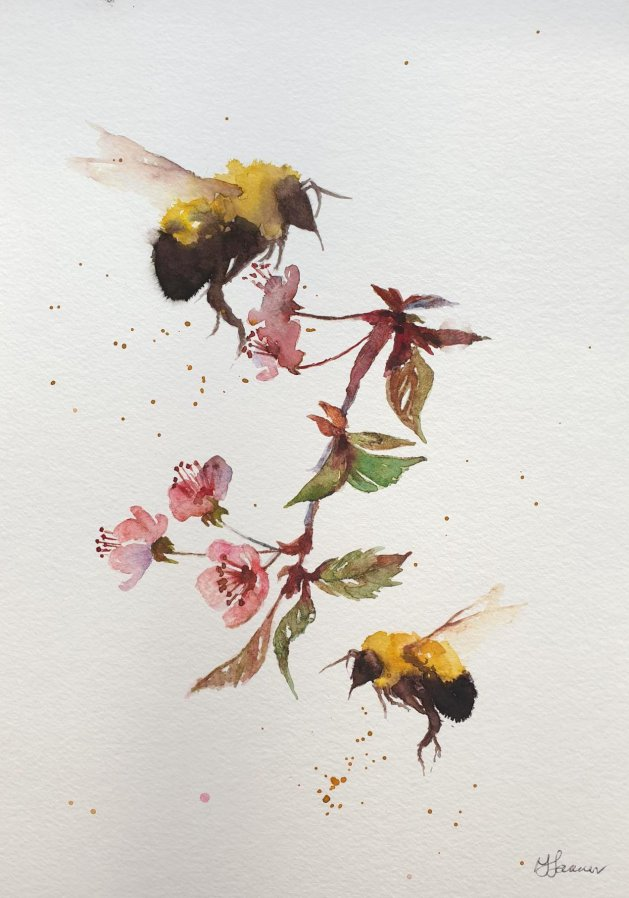 Bees & Cherry Blossom. Original art by Teresa Tanner