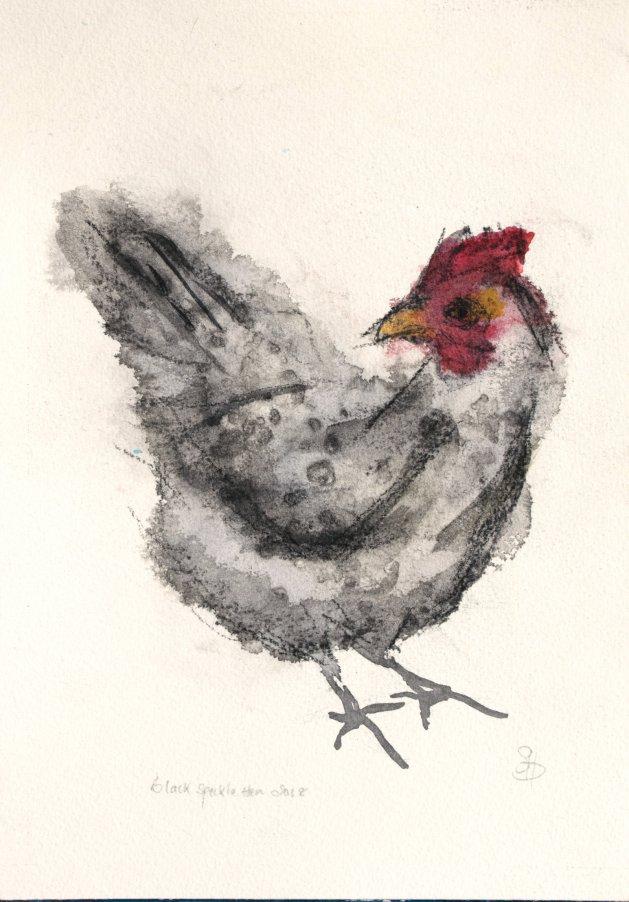 Black Speckle Hen. Original art by SB Boursot