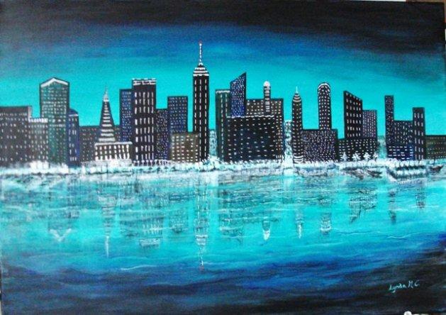 Night skyline. Original art by Lynda Cockshott