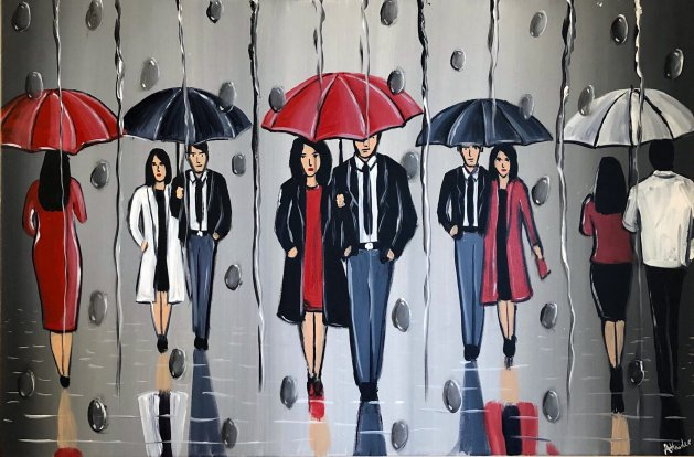 Umbrellas In The Rain. Original art by Aisha Haider