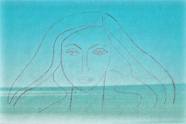 Woman in the Waves. Original art by Debby Haime