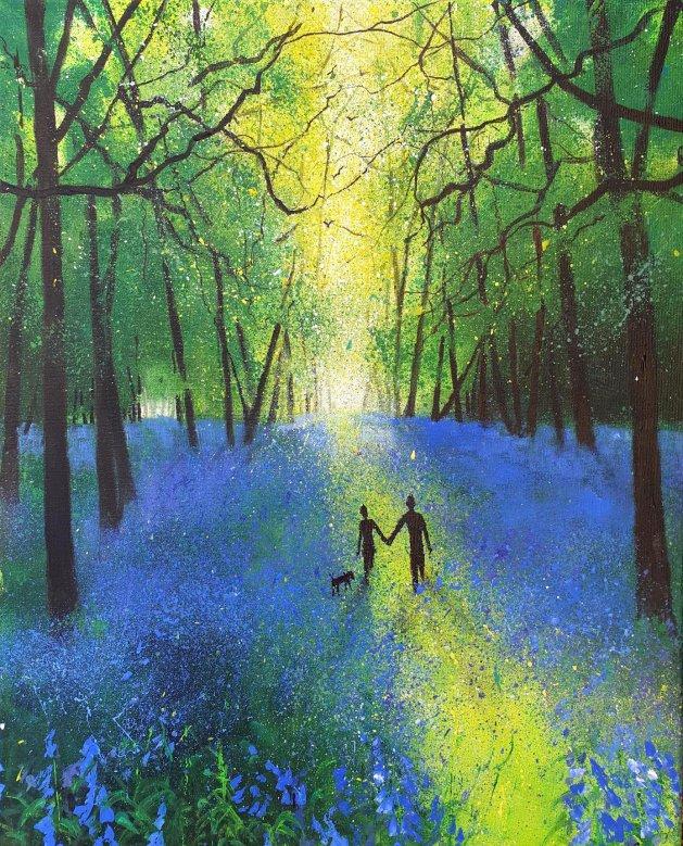 Our bluebell Walk. Original art by Teresa Tanner