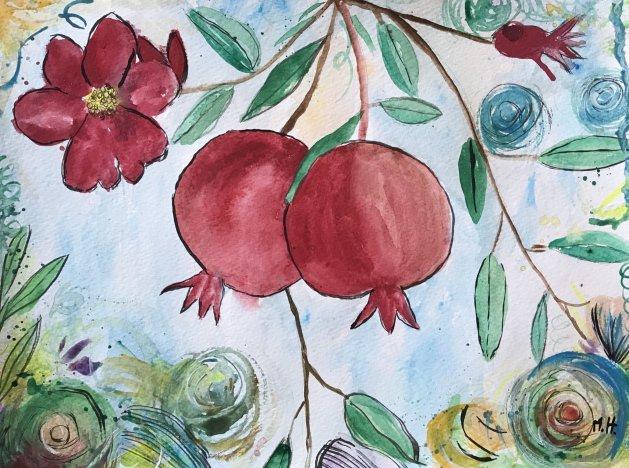 Pomegranates. Original art by Monika Howarth