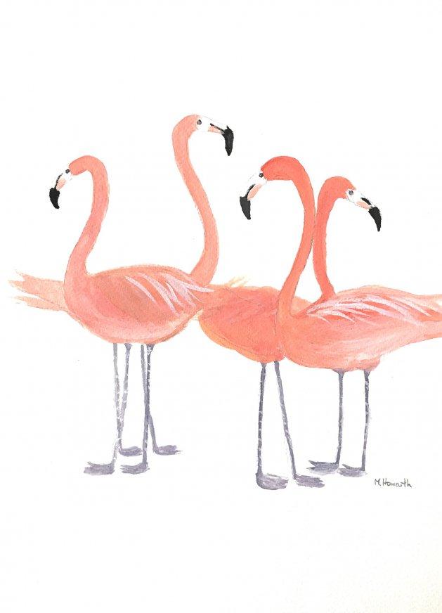 Flamingos. Original art by Monika Howarth