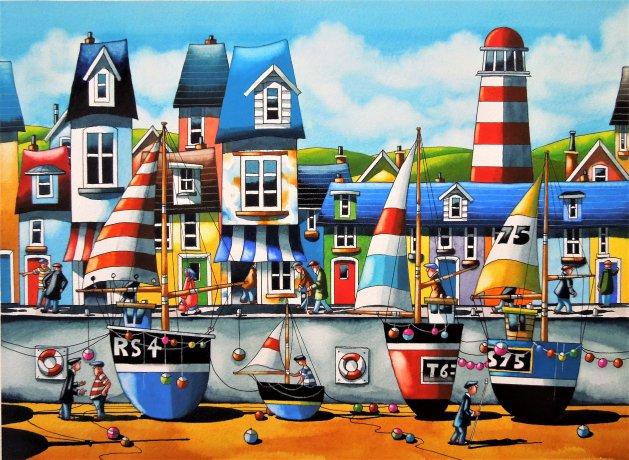 """ Devon  Coast ""  15 x 11. Original art by Paul Kiernan"