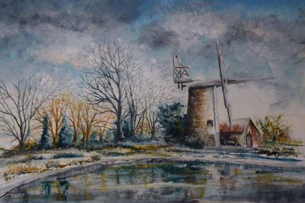 Oby Mill in winter. Original art by Anthony Rose