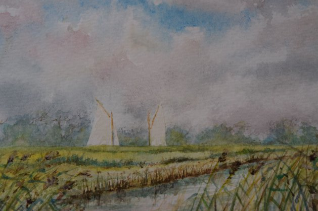 Sails across the marshes. Original art by Anthony Rose