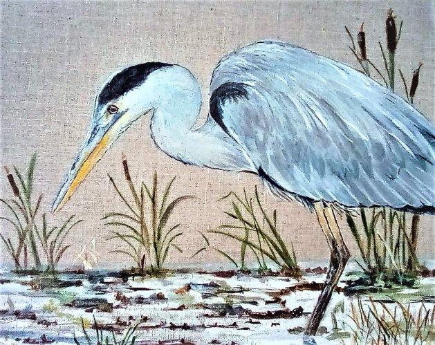 Heron Fishing. Original art by Ros Tyrrell