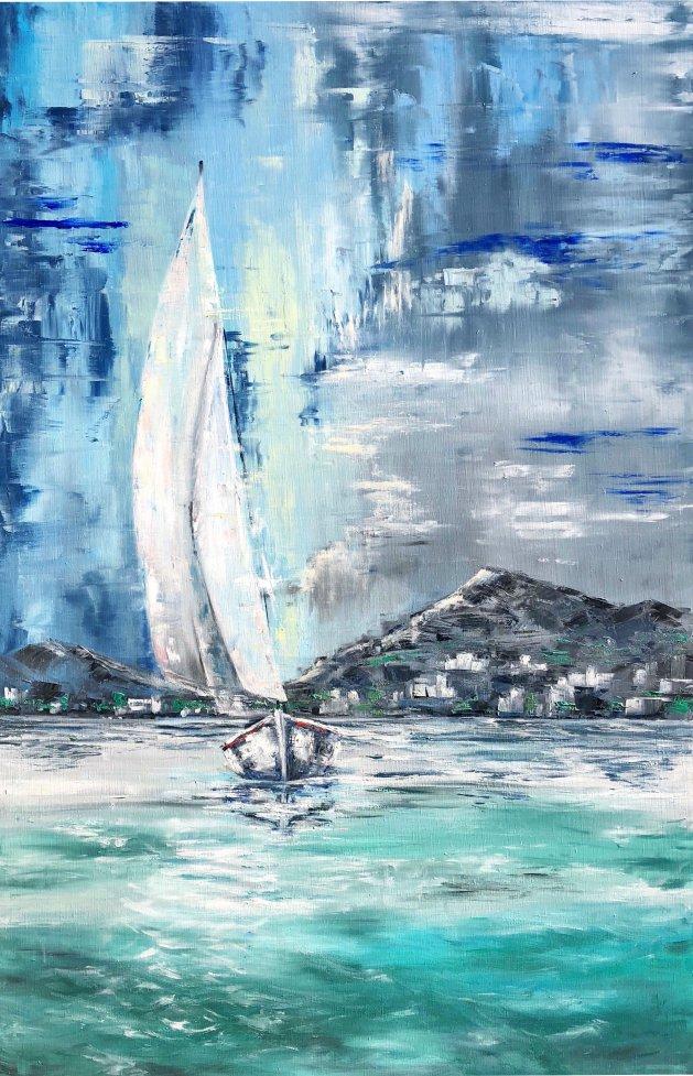 Sailboat, Commission artwork. Original art by Tanya Stefanovich