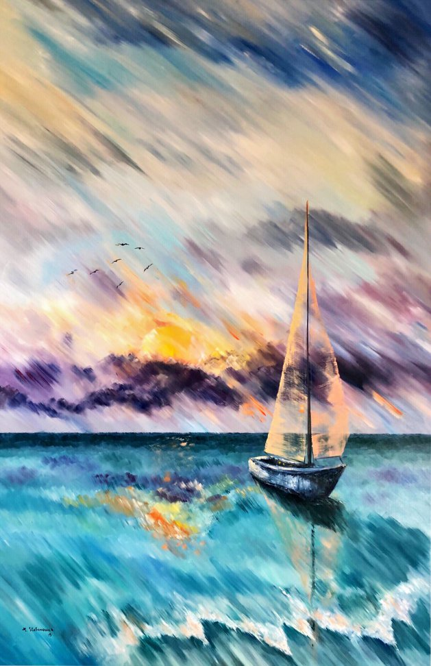Sailboat 140 x 90 cm. Original art by Tanya Stefanovich