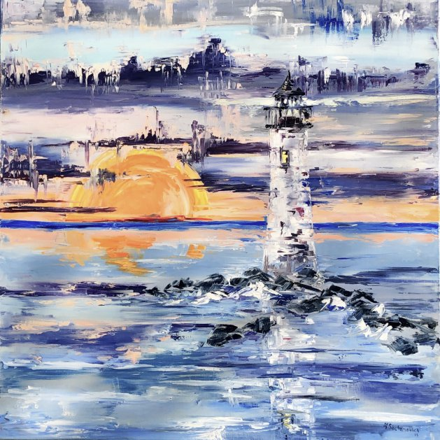 Lighthouse, Sqare, Oil. Original art by Tanya Stefanovich