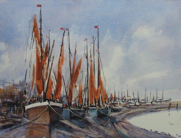 Barges at Maldon. Original art by Stuart Peters