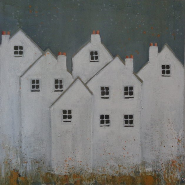 Six White Cottages. Original art by Fiona Philipps