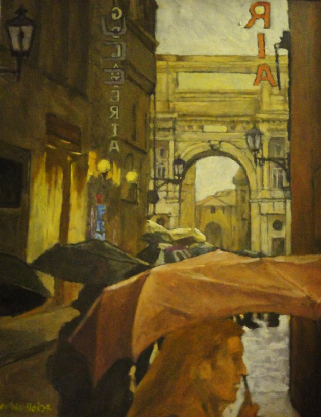 Florence; Towards Piazza Republica in Rain. Original art by John Wardle