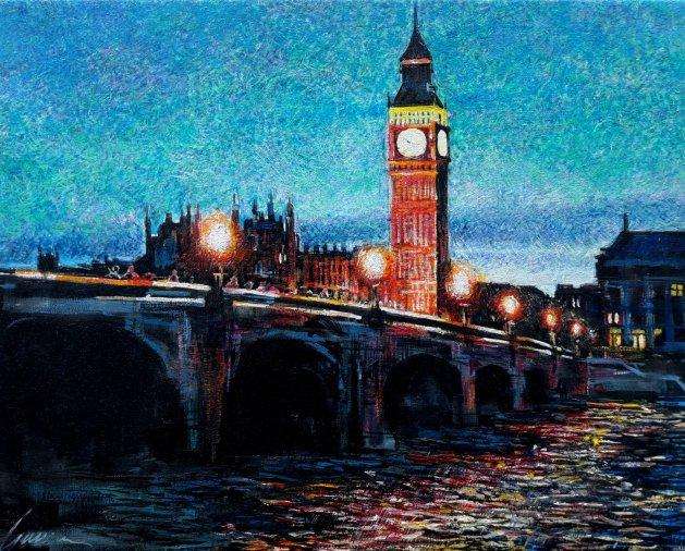 Just After Sunset. Original art by George Ganciu