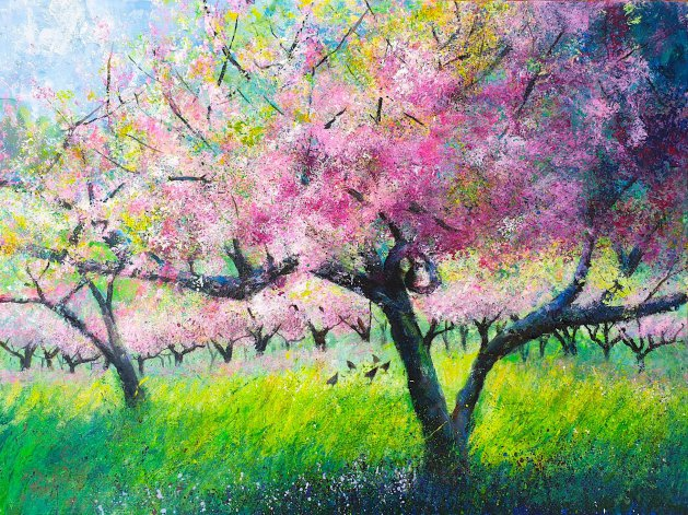 Spring Orchard & Chickens. Original art by Teresa Tanner