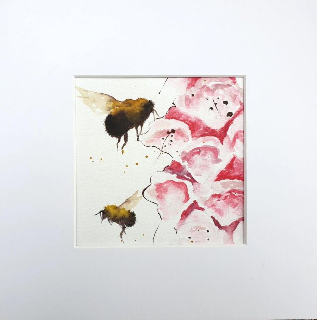 Foxgloves and Bumble Bees. Original art by Teresa Tanner