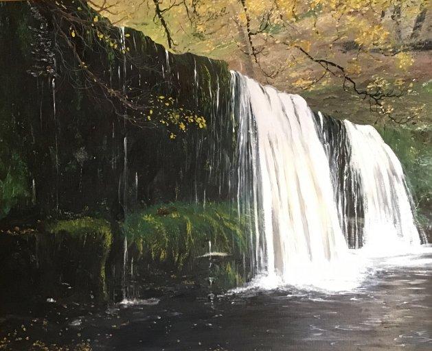 Welsh waterfall. Original art by Janet Blower