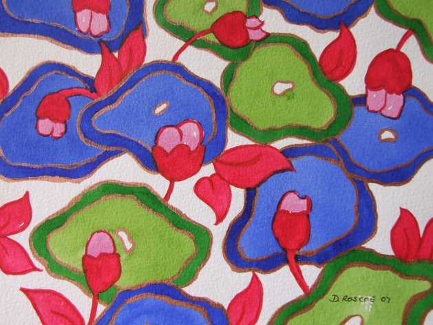 Water Lillies, Clarice Cliff style. Original art by Denise Roscoe