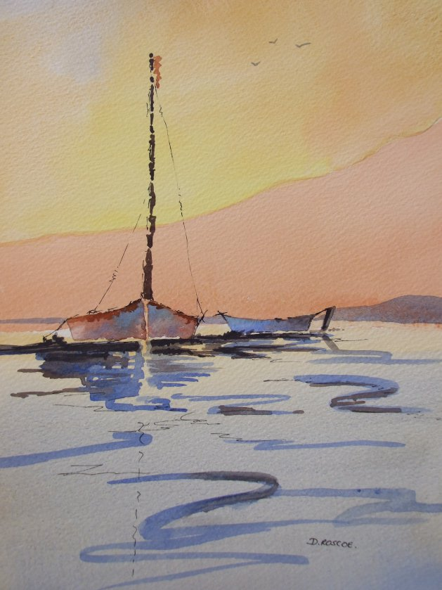 Boats in the sunset. Original art by Denise Roscoe