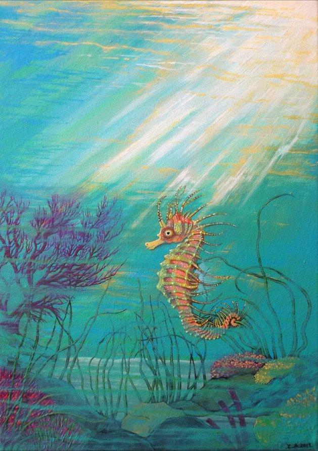 Seahorse. Original art by Zoe Adams