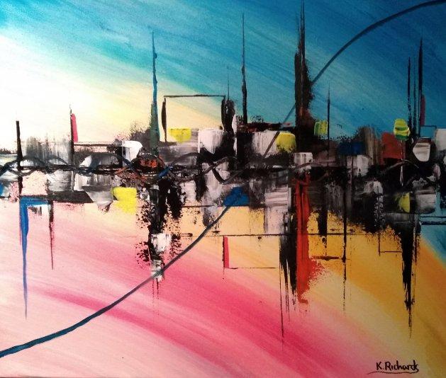 FLOATING CITY. Original art by Kevin Richards