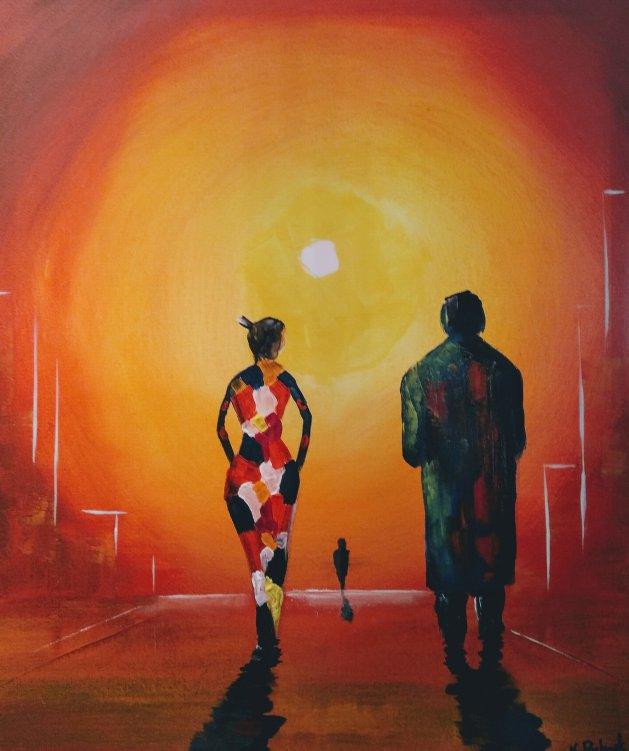 SUNSET. Original art by Kevin Richards