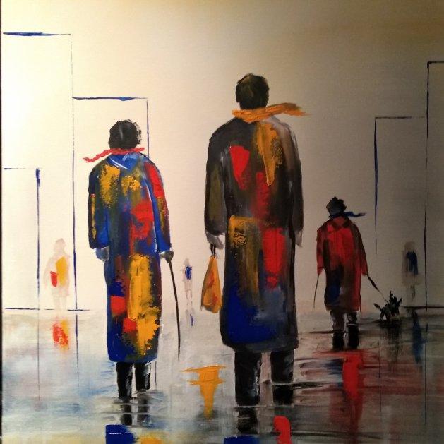 A WINTERS WALK. Original art by Kevin Richards