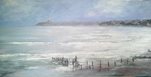 'Misty Blue'  – View  from Sandsend to Whitby. Original art by Cath Little