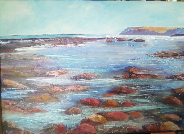 Cattersty Sands (Without the Sand!). Original art by Cath Little
