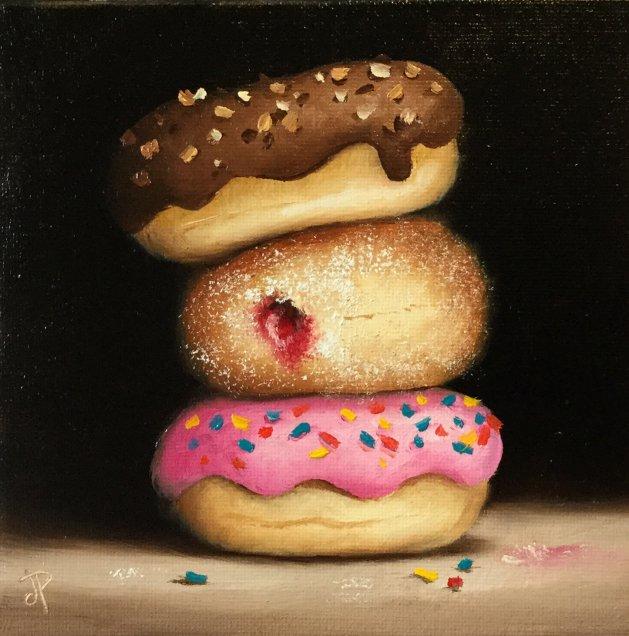Three donuts. Original art by Jane Palmer