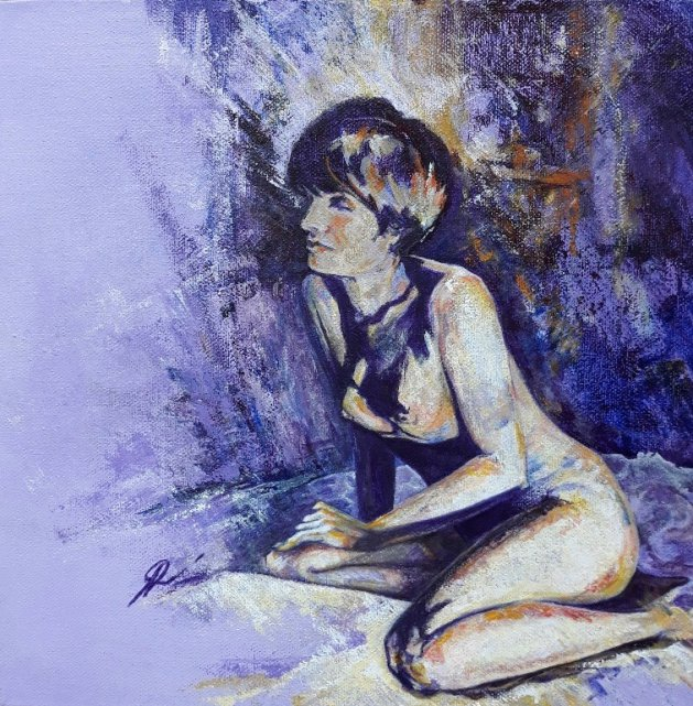 Nude in Lilac. Original art by Amanda Roussos