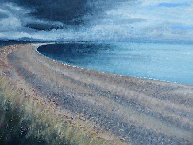 Looming Clouds over Abererch. Original art by Mair Oliver