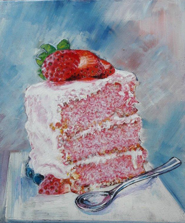 White Glazed Cake. Original art by George Ganciu