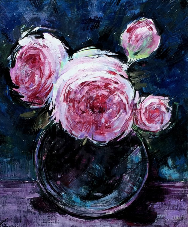 Glass Bowl With Roses. Original art by George Ganciu