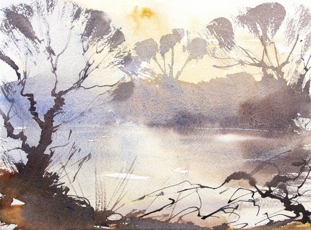 Mill Pond Winter. Original art by Adrian Homersham