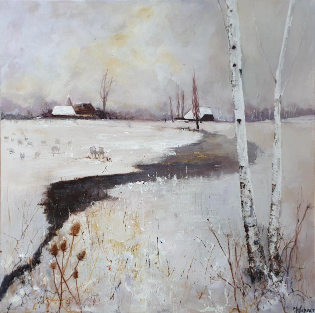 Winter Landscape Sheep Kent. Original art by Teresa Tanner