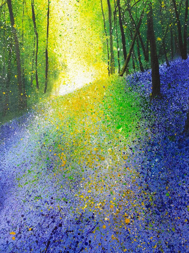 Intense Bluebell Landscape. Original art by Teresa Tanner