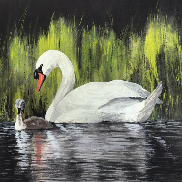 Swan with signet. Original art by Janet Blower
