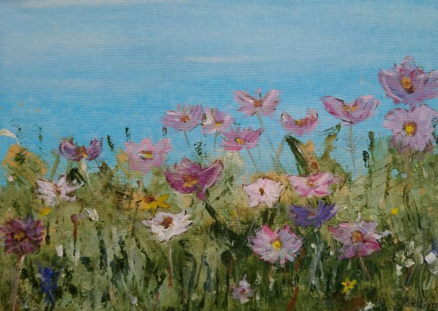 Summer Flowers. Original art by Ros Tyrrell