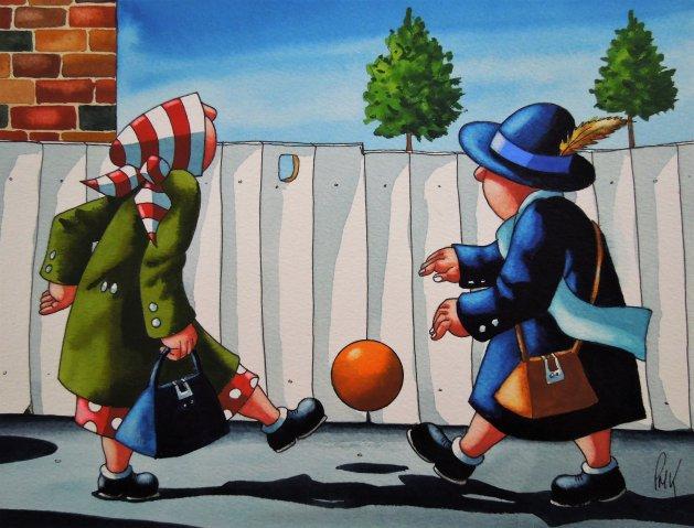 """"""" Girls Got game """" 10 x 8. Original art by Paul Kiernan"""