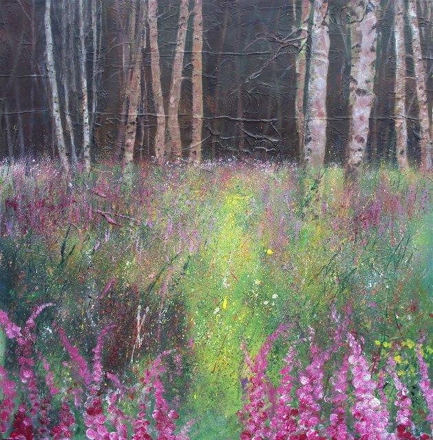 Foxgloves Edge of Birch Wood. Original art by Teresa Tanner